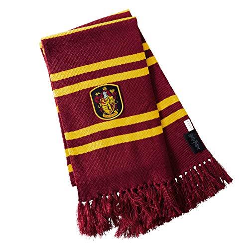 Elbenwald Harry Potter Schal Gryffindor Hausfarben mit Wappen Patch und Fransen 24 x 170 cm rot gelb