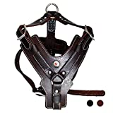 PESHOUCO Leather Dog Harness Handmade Genuine Leather Durable Strong Pet Harness with Adjustable Straps No Pull Easy Control Pet Vest 28' - 32' Chest for Medium Large Dogs Dark-Brown