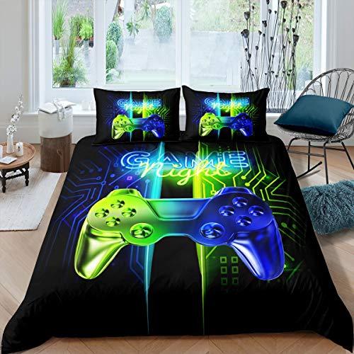 Loussiesd Juego de cama para niños, juego de cama para niños, juego de videojuegos, funda de edredón de microfibra suave y moderna, juego de controlador, funda de edredón degradada azul verde
