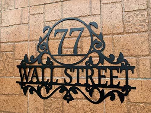 Personalisiertes Haustürschild mit Hausnummer und Straßennamen, Hausschild aus Metall, Türschild Plakette, Straße, Haus Adresse Plaketten im Freien Zeichen, Schild zum Aufhängen für Zuhause, Türnummer