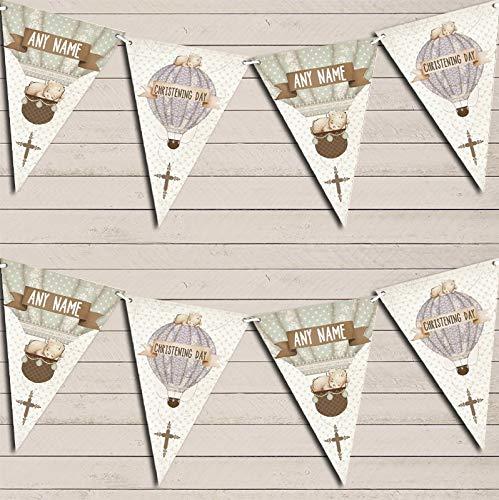 Hot Air Balloon Teddy Bear Vintage Christening Banner Christening Personalised Bunting Banner Garland