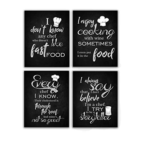 Unframed Inspirational Chef Quote Wall Art Print, Cooking Lettering Art Painting , Set of 4 (8 ' x10 ') Saying-I Try To Be It, I Enjoy Cooking Canvas Poster For Kitchen, Dining Room Decor