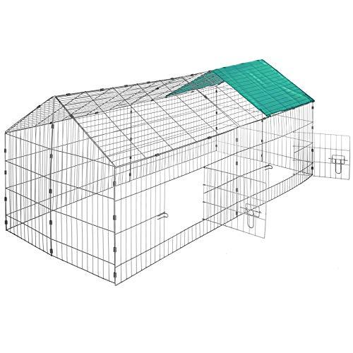 TecTake Gabbia da Esterno per Conigli con Protezione Parasole | lungh. x largh. x h 180 x 75 x 75 cm - Disponibile in Diversi Colori - (Tetto Verde | No. 402420)
