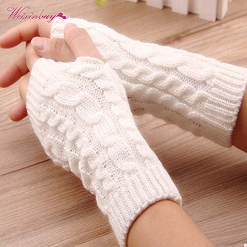 Winter Wrist Female Gloves Knitted Lady Fingerless Mittens Women Warmer Gloves 5 Colors - (Color: E)