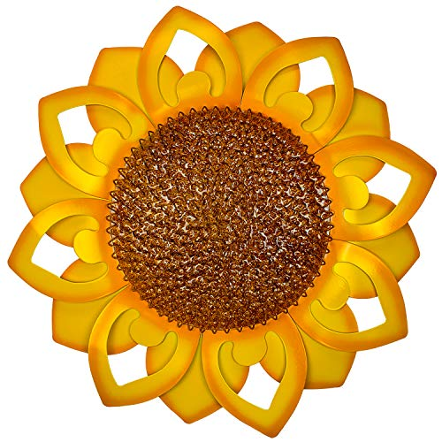 """22"""" Extra Large Metal Sunflower Wall Art Decor -Yellow Inspirational Floral Home Decor. Aesthetic Room Decor. Hanging Decoration For Indoor And Outdoor On Fence, Living Room, Porch, Patio, Garden, Hallway."""