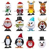 LIHAO 12pcs Jouets à Remonter, Jouets Mécaniques en Forme des Cartoons Mignons de Noël, Cadeau d'Anniversaire Noël pour Enfant