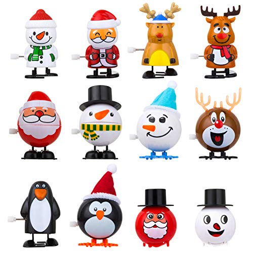 12 Piece Christmas Wind-Up Toys for Kids Party Favors, Birthday Christmas Gift Stocking Stuffers Goody Bag Fillers