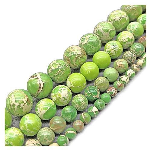 Moulding Green Imperial Piedra Beads Emperor Jasper Beads para joyería Haciendo Bricolaje Collar de Pulsera 4/6/8/10/12 MM Med STREL Green Beads (Color : Green, Size : 6mm Approx 63beads)