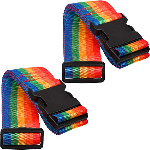 Twin Pack Luggage Straps Adjustable Security Suitcase Travel Belt Non-Slip Packing Belt (Rainbow)