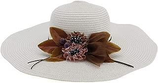Lady's Sun hat 2019 Summer Women's Sun Hat Flower Hat Effortless Fold Wide-Brimmed Hat Beach Hat Sun hat (Color : White, Size : 56-58CM)