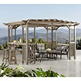 MM Cedar Pergola Gazebo with Bar Counter and Sunshade in Timber Gray...