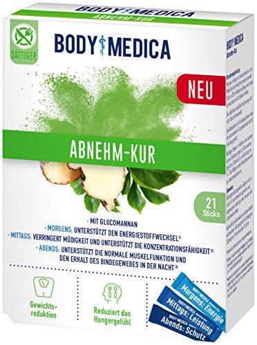 BodyMedica Abnehm-Kur, Nahrungsergänzungsmittel mit Glucomannan unterstützt beim Abnehmen, reduziert das Hungergefühl, mit Vitaminen und Mineralstoffen für morgens, mittags und abends, 1 x 21 Sticks