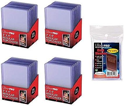 100 x Ultra Pro WHITE TOPLOADER Rigid Card Protector Pokemon 35pt TOP LOADERS