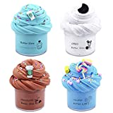 partyin 4 Pack Butter Slime Kit, Coffee Slime, Lollipop Slime and Biscuit Slime, Super Soft & Non-Sticky, Birthday Gifts for Girls and Boys