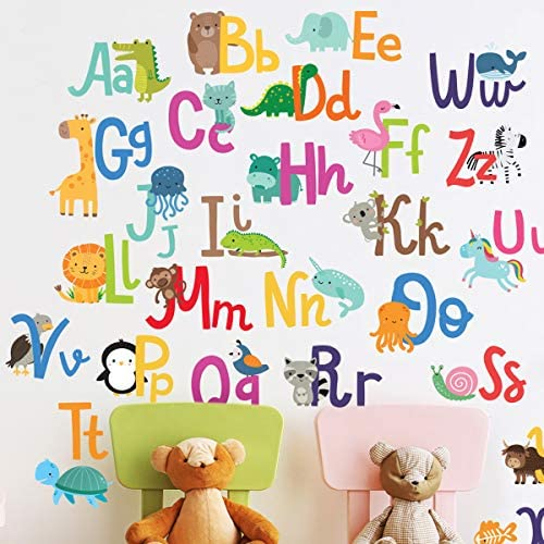 Alphabet Wall Decals for Kids Rooms ABC Toddler Boy and Girl Playroom D cor Animal Stickers product image