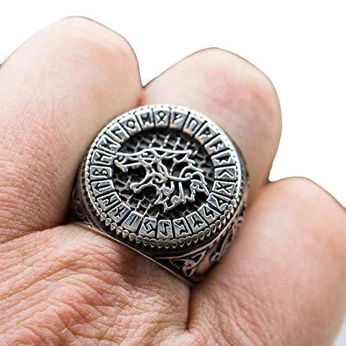 Anillo Vikingo de Acero Inoxidable para Hombre,Runas Nórdicas de Odin Lobo Gótico Banda Animales Amuleto de Sello Joyería Hecha A Mano Bolsa Regalo,13