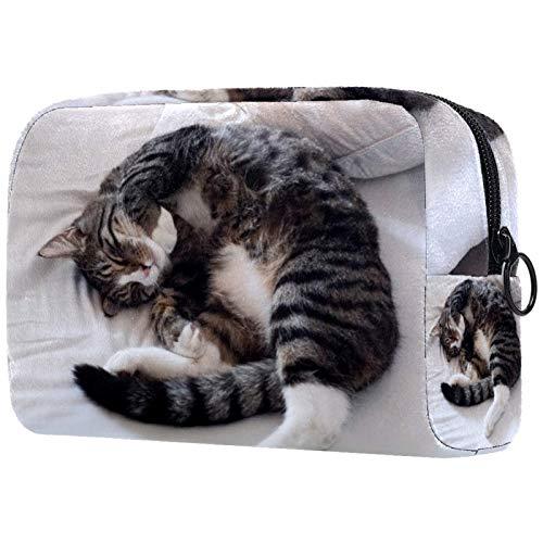 Schminktasche Reise Kosmetiktasche Tasche Geldbörse Handtasche mit Reißverschluss - Katzenbett zum Schlafen, Muttertagsgeschenk