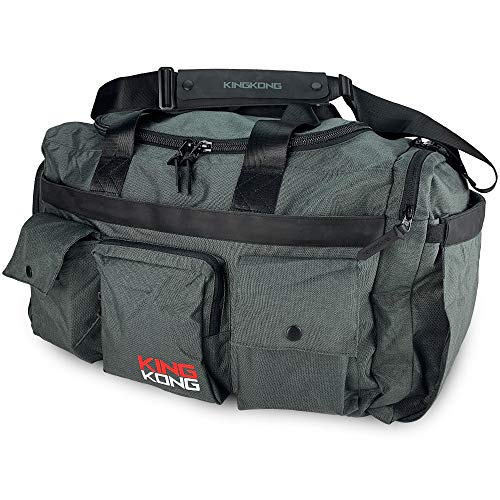 """King Kong Giant Kong Original Nylon Gym Bag - Large Heavy Duty and Water-Resistant Duffle Bag - Military Spec Nylon- Heavy Duty Steel Buckles - 22"""" x 13.5"""" x 13"""" - Charcoal"""