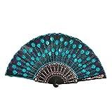 YWLINK Abanicos,Abanico De La Mano del CordóN del Banquete De Boda De Seda Plegable Mano Ventilador De La Flor Abanico Decorativo Fan del Baile Carnaval Estilo Chino(Cielo Azul)