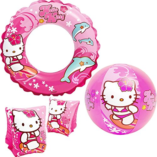 Intex 'Hello Kitty Kids Accessories Swimming Set - Set Includes: Swim Ring (Tube), Pair of Deluxe Arm Bands Tube and Beach Ball - for Kids Ages 3-6