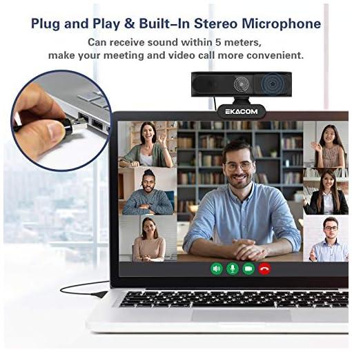 EKACOM Webcam 1080P Full HD con Microfono,Cámara Web con Cubierta de Privacidad ,Usb Web Camera PC Plug y Play para… 5