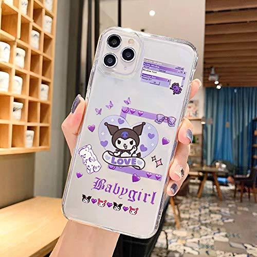 Wyalm Jamular Dibujos Animados Kuromi Bad Girl Teléfono Transparente Funda para iPhone 12 11 Pro X XS MAX XR 7 8 Plus Soft Silicone Funda TPU Coque (Color : Style 2, Size : iPhone X XS)
