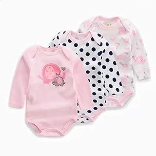 Baby Girls' 3-Pack Long-Sleeve Onesie Cotton