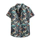 Camisas para hombre, de verano, informal, ajustadas, de manga corta, para la playa marine M