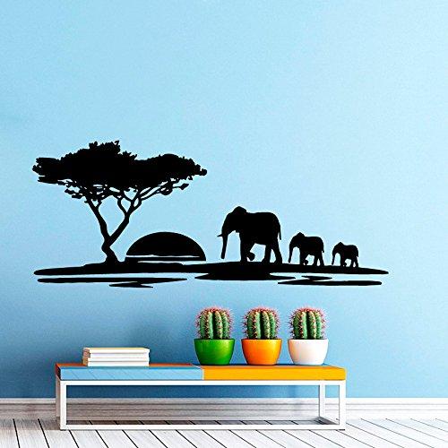 W7 Adhesivos de Pared Paisaje Sunset Elefante Adhesivo para Vivero Arte habitación Vinilo Adhesivo Decorativo decoración de la Pared murales