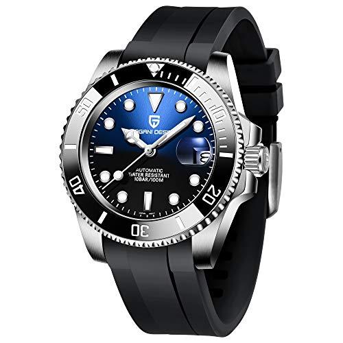 Pagani Design Reloj Hombre Analógico Automático japonés NH35 Movimiento 40mm Marcar Impermeable 100m con Correa de Acero Inoxidable PD1661
