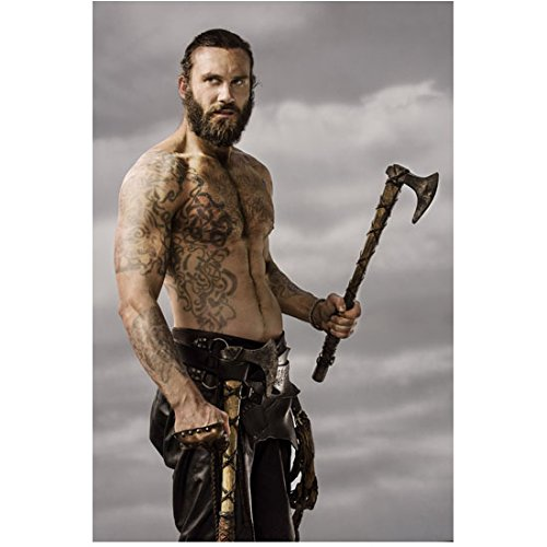 Vikings Clive Standen as Rollo Shirtless HOT Showing Tattoos Holding Axe 8 x 10 Photo