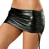 Women's Metallic Shiny Bodycon Ruched Mini Skirt Wet Look Lingerie Micro Short Skirt Dance Clubwear Night Costume Black