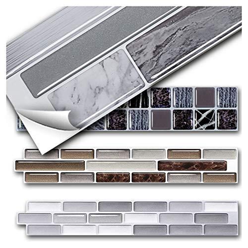 Grandora 4 Stück 28,5 x 6,3 cm Fliesenaufkleber weiß Silber grau Ziegel I 3D Selbstklebende Fliesen Küche Bad Wandaufkleber Fliesendekor W5571
