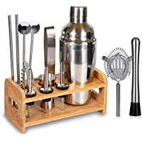 Supersun 15-Piece Wood Stand Bartender Kit with Cocktail Shaker
