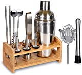 15 Piece Bartender Kit 20oz Cocktail Shaker Set with Stand, SUPERSUN Home Bar Tools Set - Shaker with Strainer, Muddler, Jigger, Stand, Ice Thong and More - Cocktail Shaker Stainless Steel