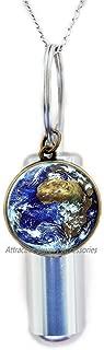 Wklo0avmg Earth Cremation Urn Necklace, Glass Photo Urn,Planet Cremation Urn Necklace Earth Cremation Urn Necklace Globe Cremation Urn Necklace Globes Unique, QK0O16