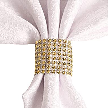 sexyrobot Rhinestone Napkin Rings Wedding Adornment, Gold Napkin Holder for DIY Party Banquet Birthday Decoration, Supply 5 x 1.6inch(50PCS)