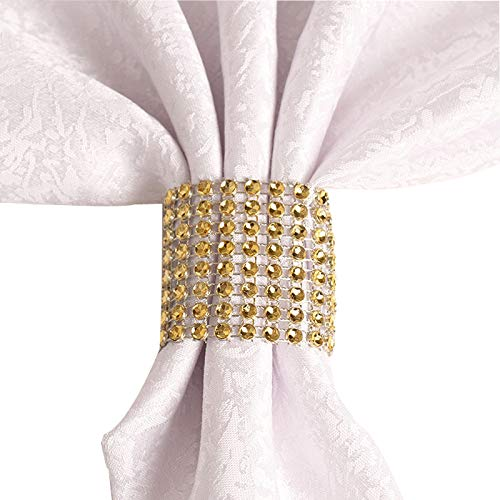 Rhinestone Napkin Rings Wedding Adornment, Napkin Holder for DIY Party Banquet Birthday, Gold (50PCS)