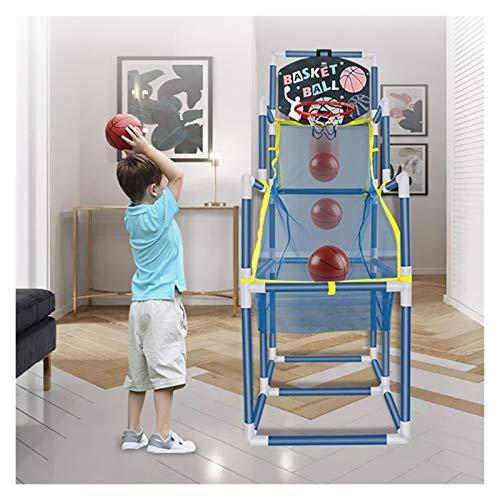 LUYJKL Juego de disparos de baloncesto portátil para niños, de 1 a 3 años de edad, arcada de baloncesto, bola móvil con bolas bomba S (color con 2 bolas)