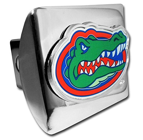 University of Florida Gators Bright Polished Chrome with Color Gator Head Emblem NCAA College Sports Trailer Hitch Cover Fits 2 Inch Auto Car Truck Receiver