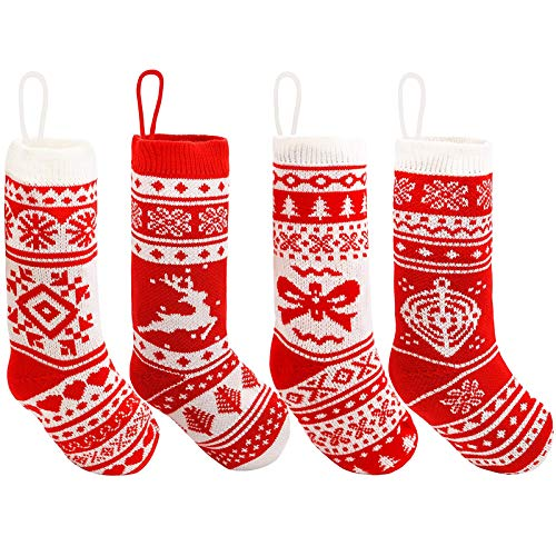 """JOYIN 18"""" Christmas Stockings 4 Pcs, Large Size Rustic Cable Knit Xmas Stocking in Red, for Family Holiday Season Decorations"""