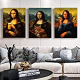 SAIDE Póster de Pared de Mona Lisa, Arte de Fumar, Captura de Pantalla de Da Vinci, Pintura de decoración de hogar y Sala de Estar Famosa 50x70 cm sin Marco