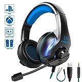 【2020最新版 軽量設計】YINSAN ゲーミングヘッドセット PC/PS4/Xbox One/Switch FPS対応 ゲームヘッドセット マイク付き LEDランプ 重低音 強化 騒音抑制 軽量 伸縮可能 男女兼用 プレゼント ブルー