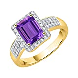 KATARINA Anillo de compromiso de amatista de talla esmeralda y diamantes en oro de 10 k (1 1/10 cttw, G-H, I2-I3)