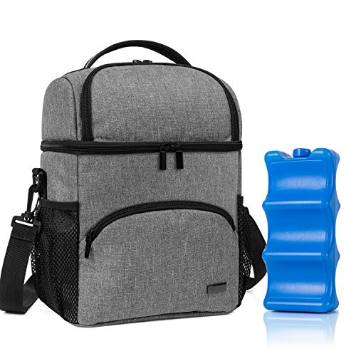 Teamoy Double Layer Breastmilk Cooler Bag with Ice Pack, Travel Baby Bottle Cooler Bag Tote Up to 6 Large 9 Ounce Bottles, Gray