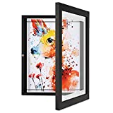 ONE WALL Kids Artwork Picture Frame Display 8.5x11 With Mat or 9.9x12.7 Without Mat, Art Cabinet Wood Frame with Tempered Glass Front Opening for Drawings, Paintings, Children Art Projects, Schoolwork