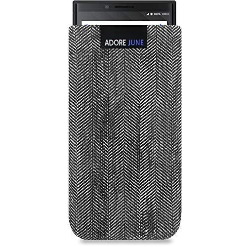Adore June Business Tasche für BlackBerry Key2 / Key2 LE Handytasche aus charakteristischem Fischgrat Stoff - Grau/Schwarz | Schutztasche Zubehör mit Bildschirm Reinigungs-Effekt | Made in Europe