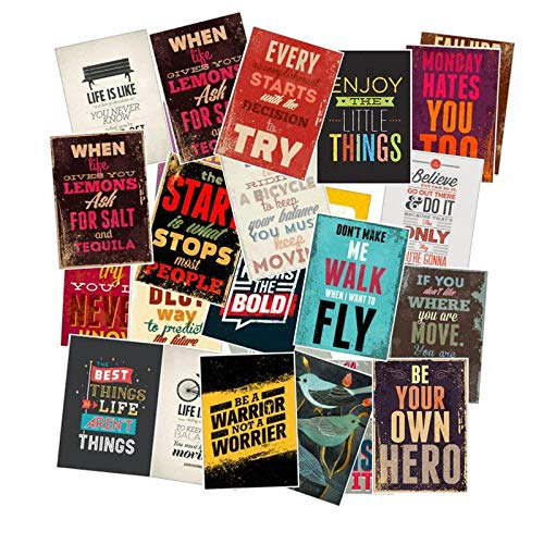 Ligoi 25 Unids/Pack TipografíA Motivacional Citas De Vida Pegatinas Retro para NiñOs Cuaderno Diario CalcomaníA PortáTil Dormitorio Pegatinas De Pared