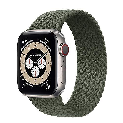 LWHAMA Brazo Solitario Trenzado para la Banda de Reloj de Apple 44mm 40mm 38mm 42mm de Tela de Tela de 42 mm Pulsera de Nylon de Nylon para iWatch Serie 3 4 5 Se 6 Correa (Band Color : Green)
