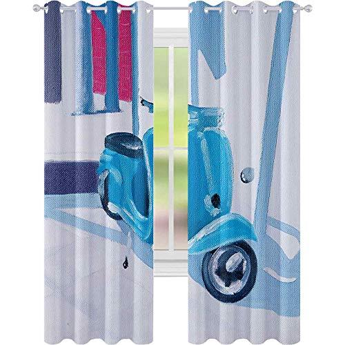 Cortinas para dormitorio, mini scooter en una suave pintura mediterránea de medio día luz italiana de la ciudad símbolo de la vida artística, 52 x 84 cortinas opacas para la sala de estar, azul rosa
